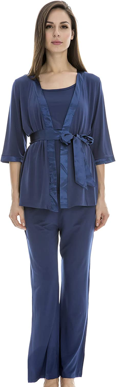 Bearsland Maternity Women's 3 Pieces Soft Nursing Pajamas Set Postpartum Sleepwear for Breastfeeding