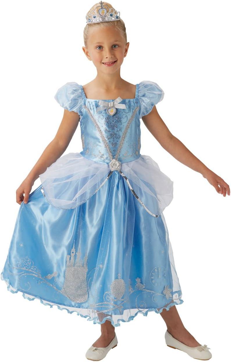 Princesas Disney - Disfraz de Cenicienta Deluxe para niña, infantil 7-8 años (Rubie's 620485-L)