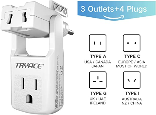 for 190+Countries(Black) Worldwide All in One Universal Travel Adaptor Wall AC Power Plug Adapter Wall Charger with 3 Outlets/&4 Plugs EU//UK//AU//US TryAce Travel Adapter