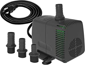 Knifel Submersible Pump 880GPH Ultra Quiet with Dry Burning Protection 10.2ft High Lift for Fountains, Hydroponics, Ponds, Aquariums & More………