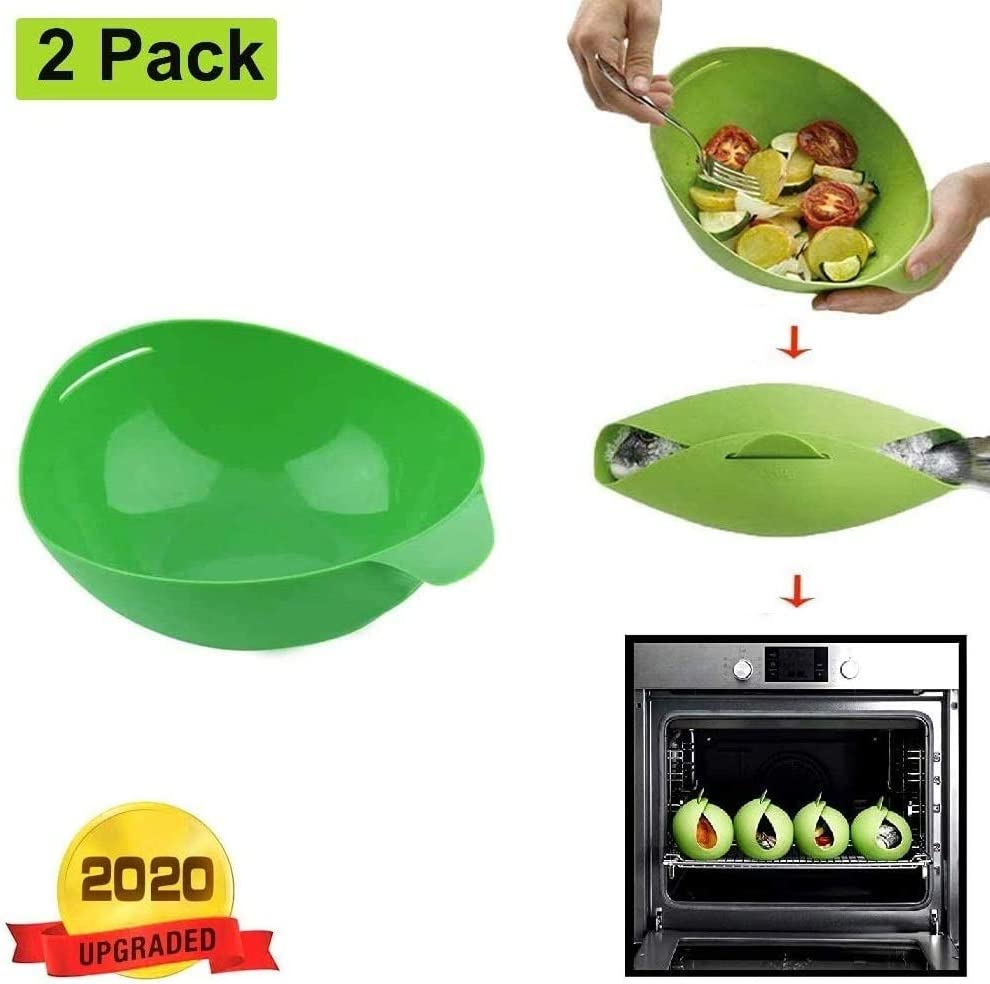 Foldable Silicone Baking Tray - Microwave Vegetable Steamer Bowl, Omelet Maker, Fish Poacher, Oven Roaster, Loaf Pan, Cloche Bread Baker, BPA Free Reuseable Microwave Cooking Pocket Dish, Easy Pod