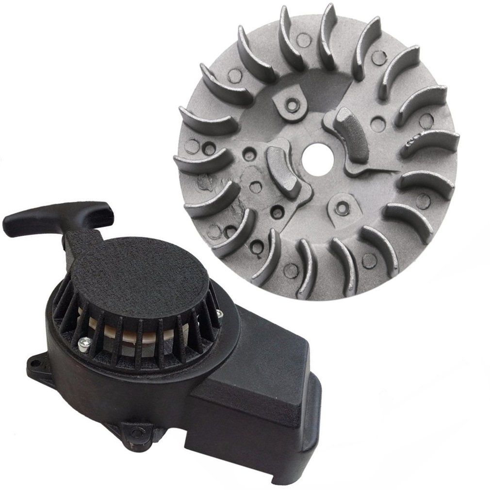 WPHMOTO Alloy Pull Start Recoil Starter with Flywheel for 47cc 49cc Pocket Dirt Bike Mini ATV (Black)