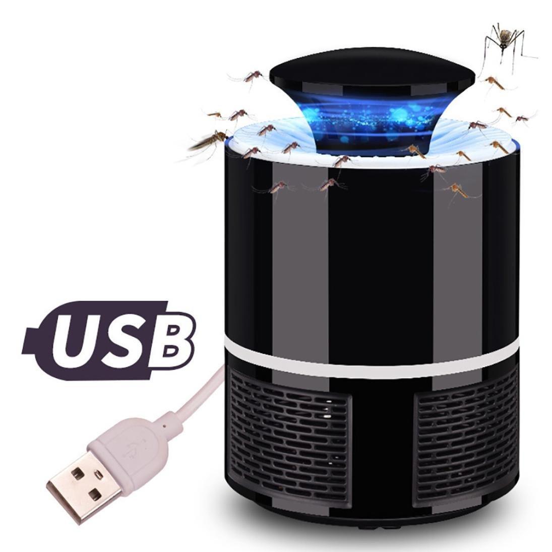 Sonmer USB Electric Fly Bug Mosquito Killer(7.5x5.1x5.1inch) LED Trap Light (Black)