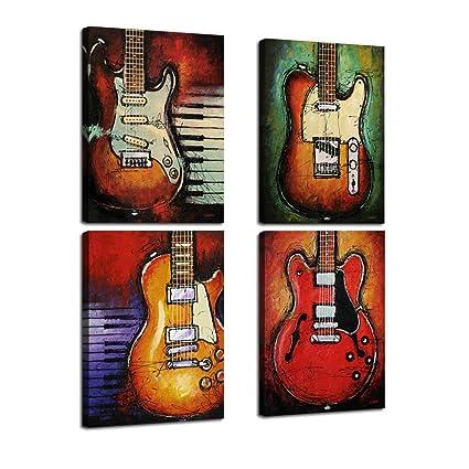 Guitarra Abstracto Pared Arte Lienzo impresiones arte decoración del hogar para sala de estar moderna música