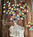 Movie Up inspired Wedding Guestbook alternative, guest book poster, flying house with balloons, Disney Wedding, 3D wood guestbook guest book