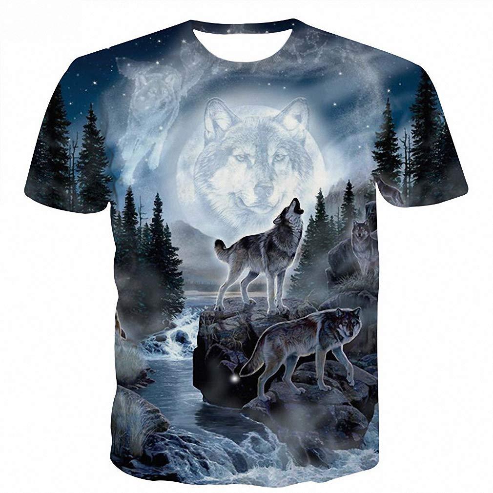 Amazon.com: Space Galaxy Wolf T Shirt Men 3D T Shirts Mens Harajuku Hiphop Short Sleeve T-Shirt: Clothing