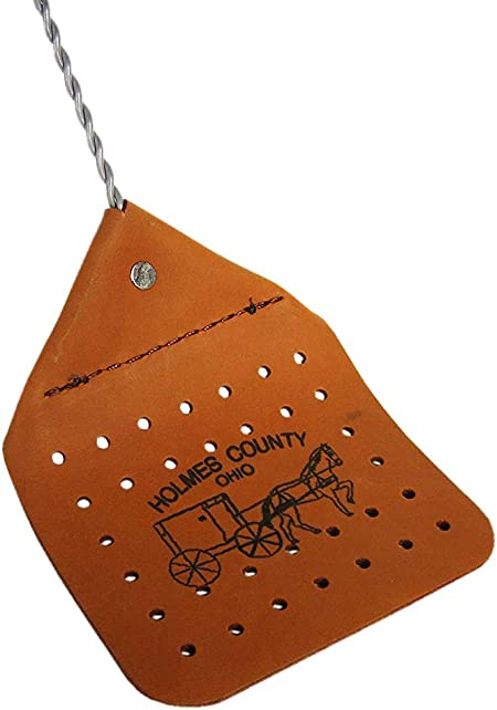 Brown Amish Leather Fly Swatter Brown Holmes County Handcrafted Wire Handle