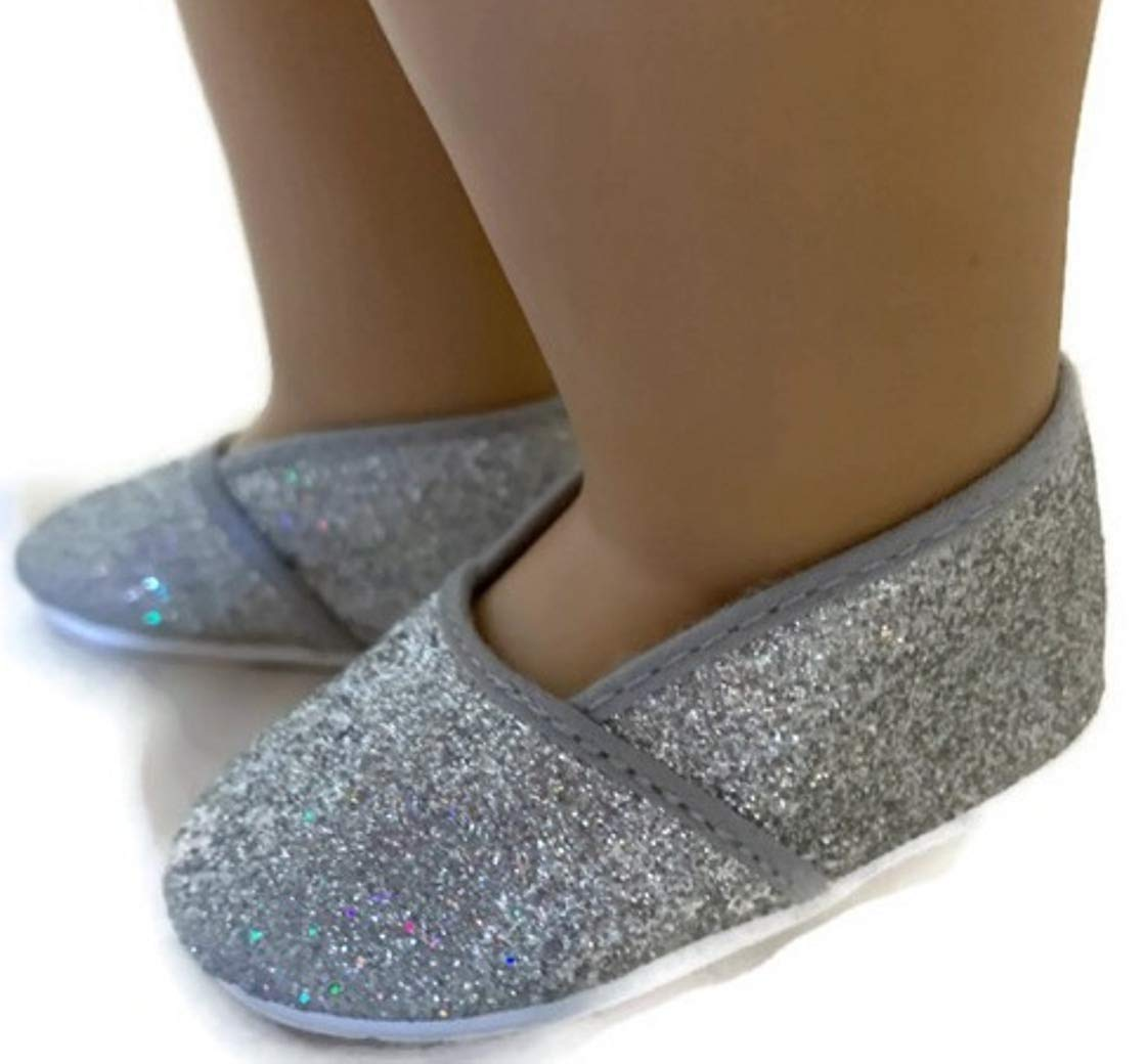 Silver Glitter Slip On Shoes for 18 inch American Girl Doll