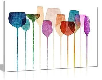 Amazon.de: Kunstdruck mit Weingläsern auf Leinwand für Küche ...