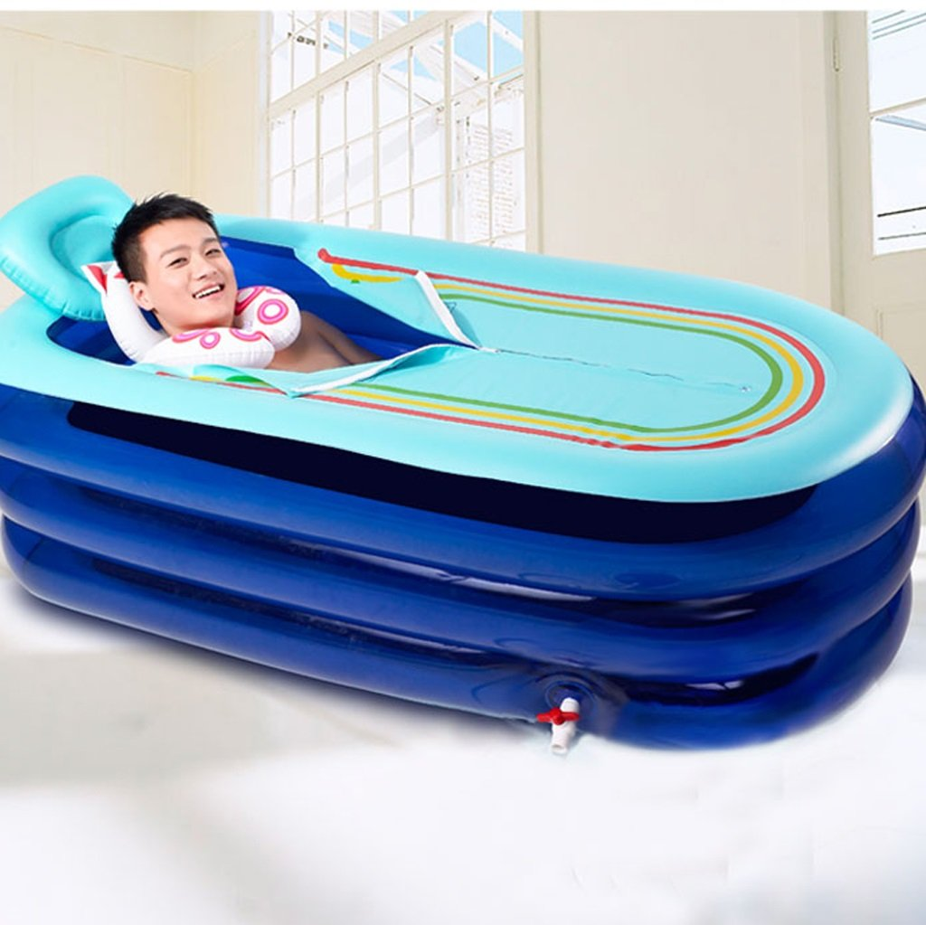 HWZDYZW Inflatable Bathtub Adult Size Portable Home Spa, Comfortable Bath, Quality Tub (Color : Blue) by HWZDYZW