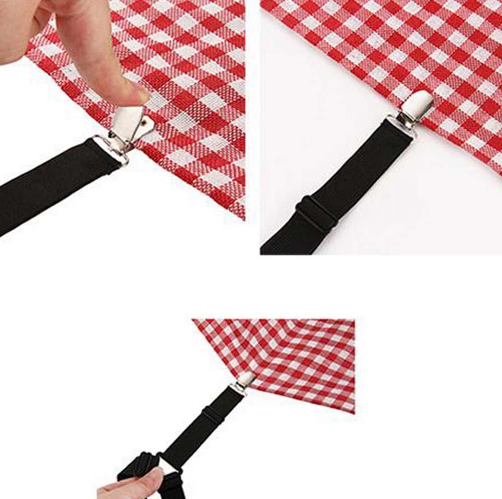 Shager 4pcs Correas elásticas con Pinzas de Metal Ajustable sábanas de Cama Grips Clips Mantel sofá cojín Antideslizante Hebilla Fijo 20~ 50cm, Blanco, 20~50cm