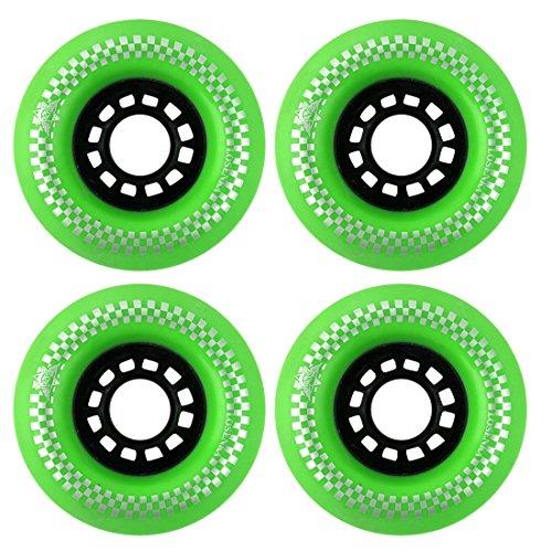 uxcell LOSENKA Authorized Beginner Workout Training PU 78A Skateboard Roll Wheels 75mm Diameter 4pcs Green