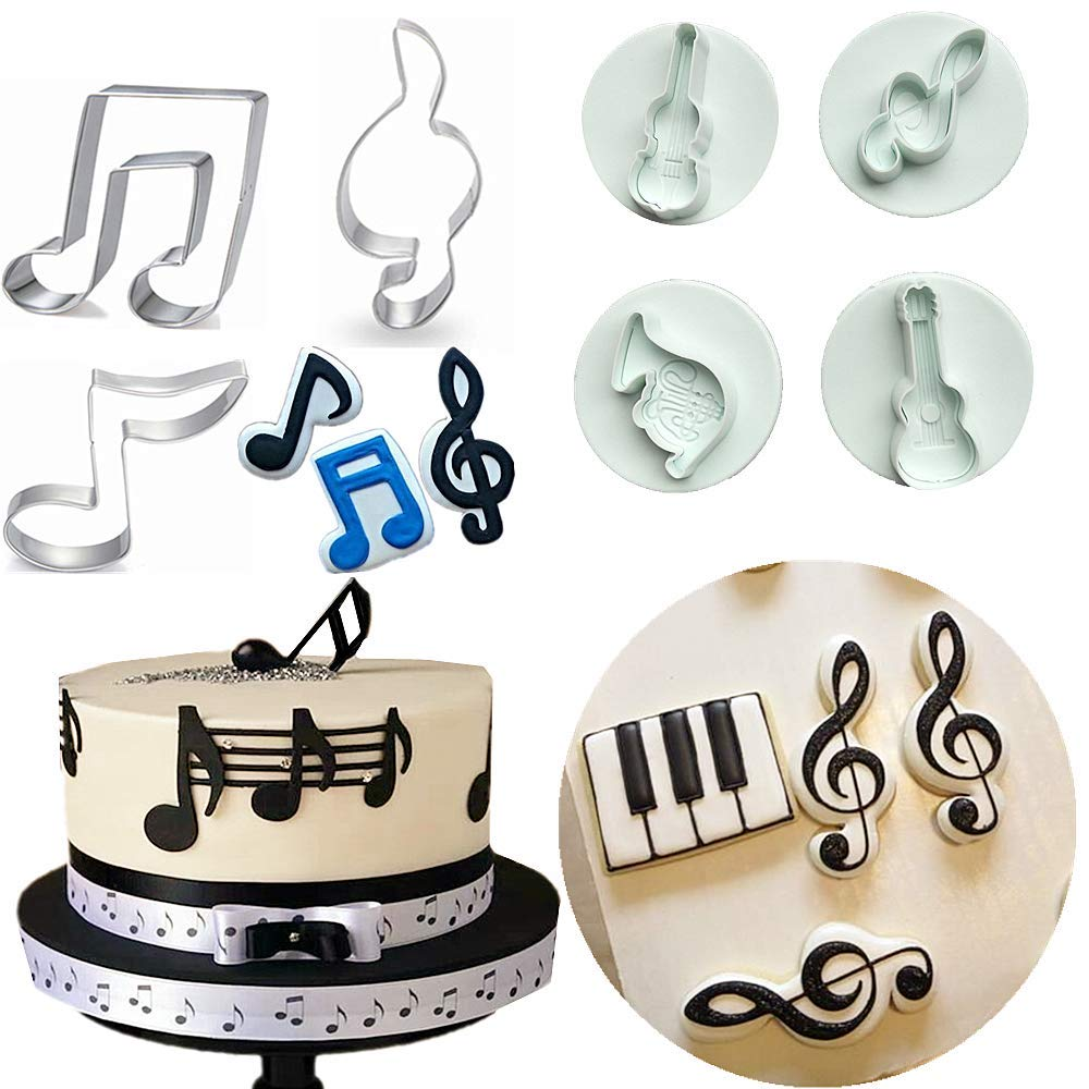 Set of 7 JeVenis Music Note Fondant Mold Musical Instruments Mold Guitar Mold Guitar Cake Toppers Rock Cupcake Topper for Kids Birthday Musician Party Baby Shower Party Favor