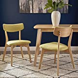 Cheap Danae Mid Century Modern Green Tea Fabric Dining Chairs with Natural Oak Finished Rubberwood Frame (Set of 2)