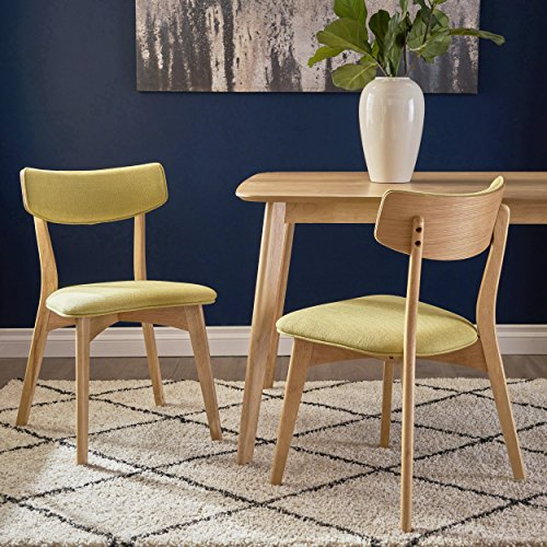 Danae Mid Century Modern Green Tea Fabric Dining Chairs with Natural Oak Finished Rubberwood Frame (Set of 2)