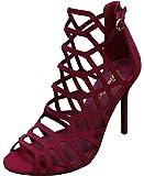 Breckelle's Women's Geometric Laser Cutout Stiletto Heel Open Peep Toe Sandal