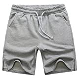 Manwan walk Men's Casual Classic Fit Cotton Elastic Jogger Gym Drawstring Knit Shorts (Medium, Grey)