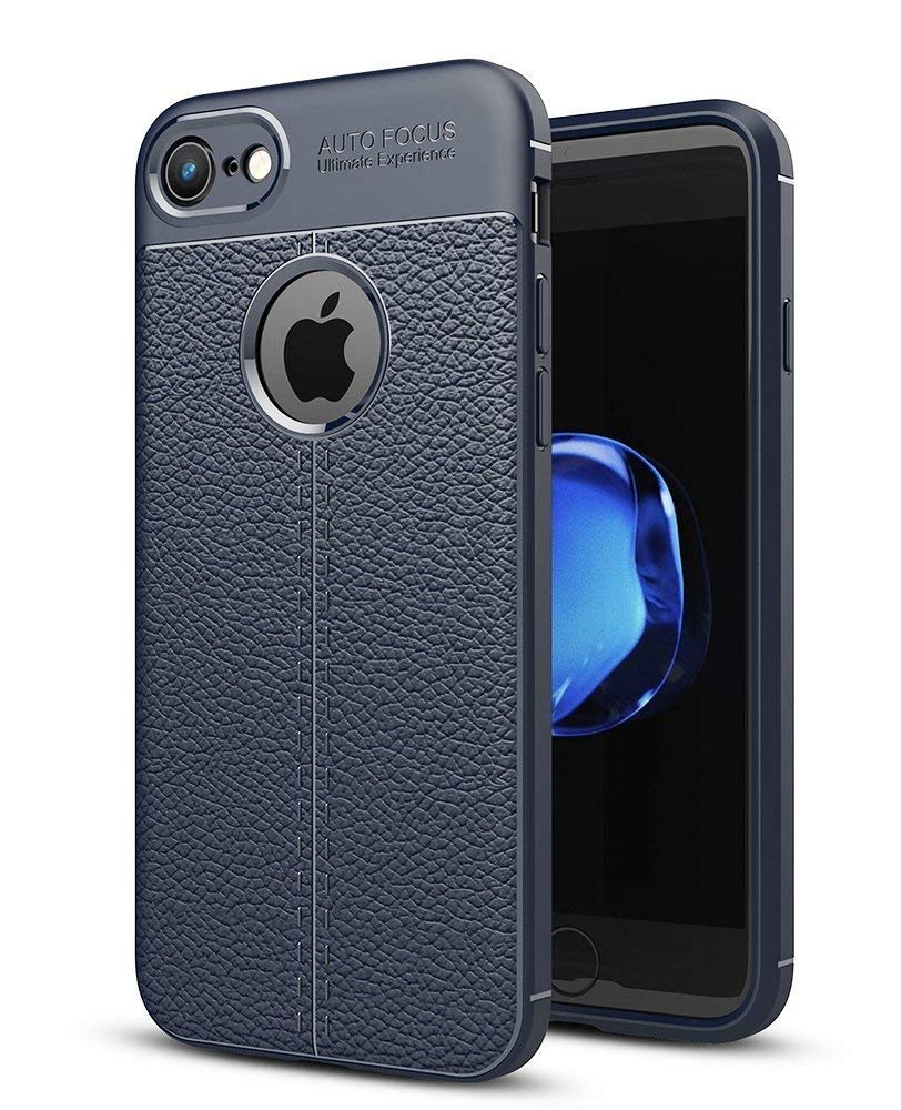 SWTOM iPhone 7 Hülle, iPhone 8 Hülle, Handyhülle [Grau] Rutschfeste Stoßfest Slim Schutzhülle TPU Leder Korn Handy Case Protective Silikon Cover für Apple iPhone 8/ iPhone 7