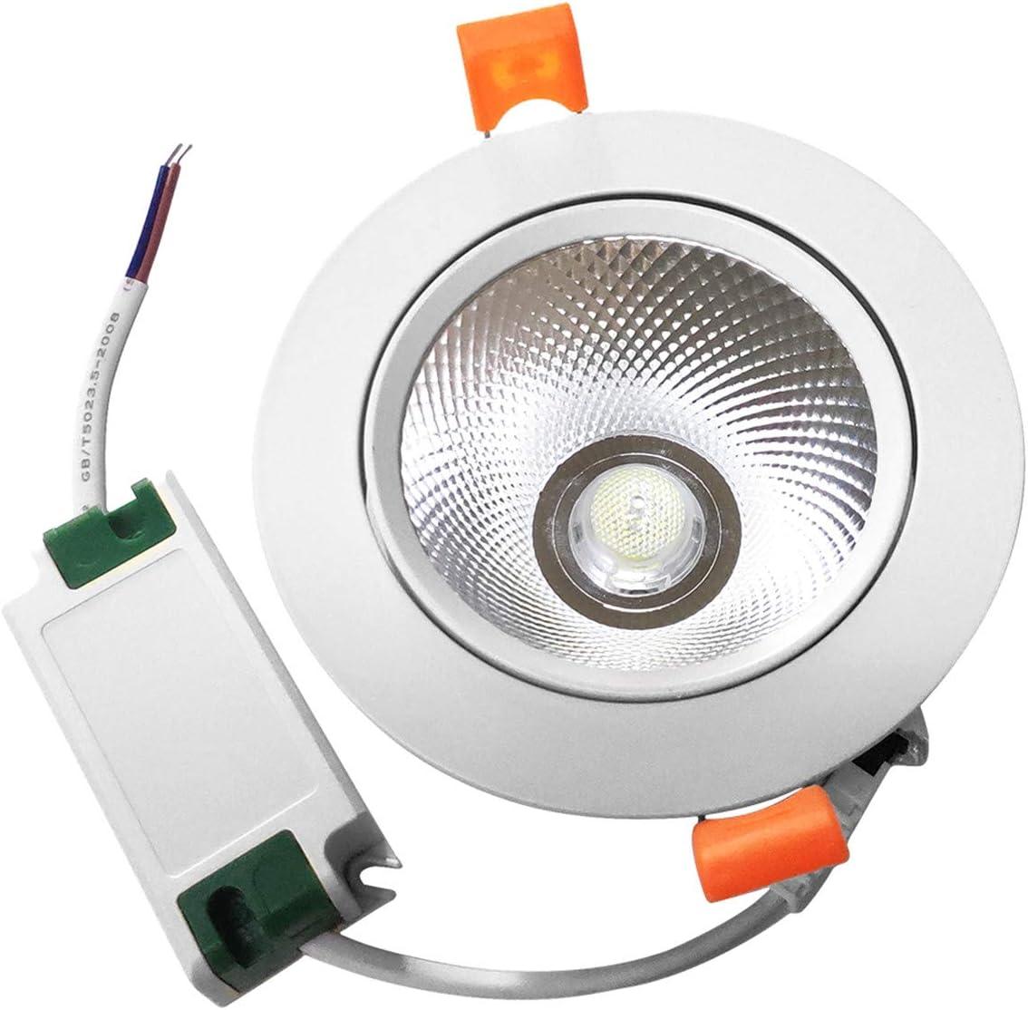 85-262V for Home 15W COB LED Spotlight 6000K 1425LM Cold White Pocketman 10 Pack Recessed Ceiling Downlight Office Inside Decoration Kitchen