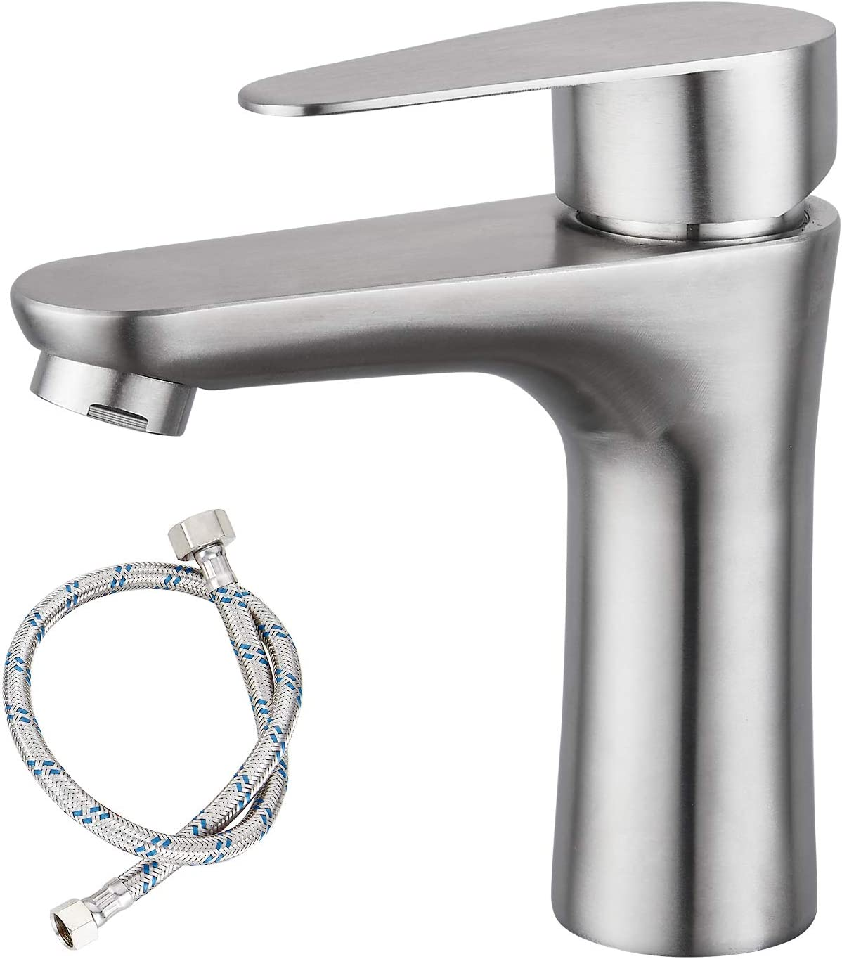 Brushed Nickel Bathroom Faucet Cold Water Only SUS304 Stainless Steel Single Handle One Hole Deck Mounted Lavatory Tap Single Switch 3/8