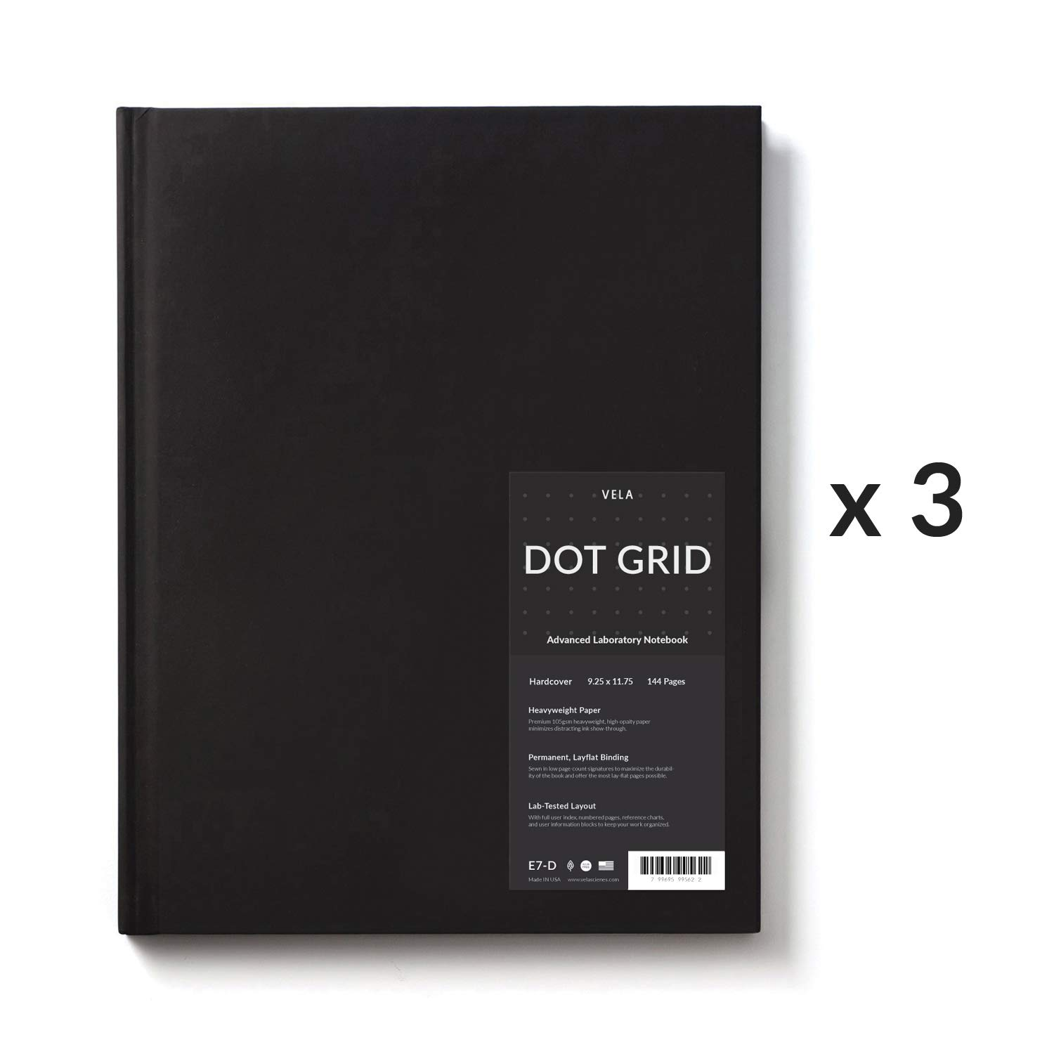 Vela Sciences Advanced Hardcover Lab Notebook 9.25 x 11.75 inches 144 Pages 3-Pack, Dot Grid