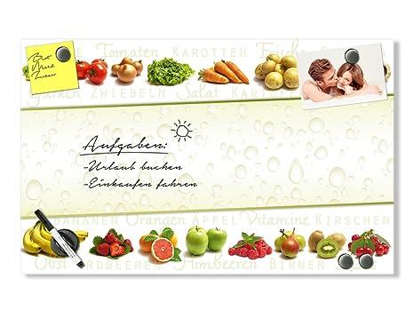 Grazdesign Memoboard Glas Küche Glastafel Beschreibbar Motiv Frisches Obst Und Gemüse Magnetwand Für Notizen 80x50cm