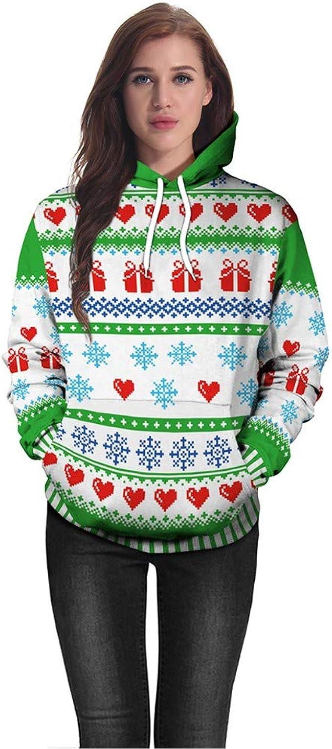 Fudule Long Sleeve Pullover Women Sweatshirts Snowflake Reindeer Print Shirts Teen Girls Casual Jumper Blouse Tops