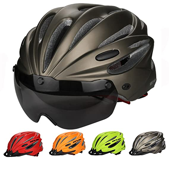 Amazon.com : helmett High Density Eps Goggle+Brim Multifunctio Cycling Bicycle Helmet Mtb Bike Sports Mountain Brim Cascos Ciclismo Black : Sports & ...