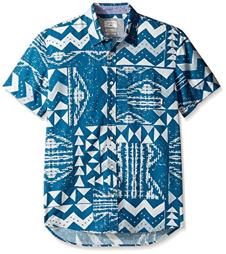 Quiksilver Men's East Cape Crowns Short Sleeve Woven Top, Morrocan Blue X-Large