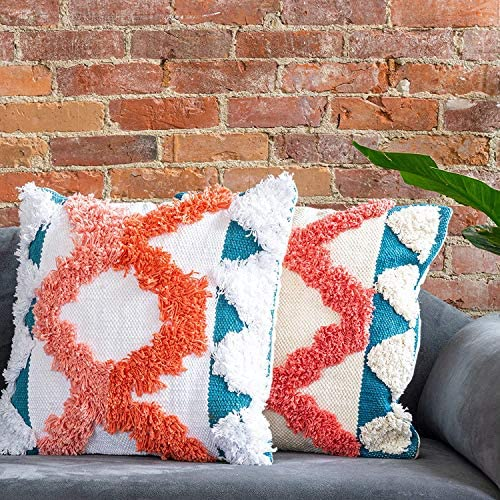 Refinery29 Teagan Collection 100 Cotton Luxury Decorative Textured Throw Pillows, Ultra Soft with Stylish Modern Woven Tufted Design for Home D cor, Coral