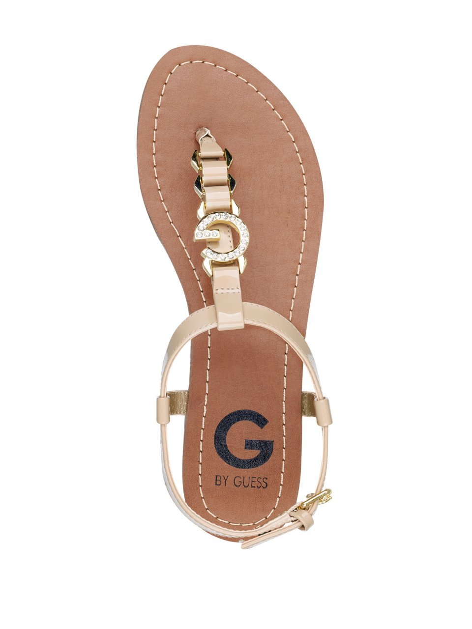 aa1b2c1a24dd G by GUESS Women s Lexann Buckle Rhinestone Logo T-Strap Sandals -  GGLEXANN-H   Sandals   Clothing