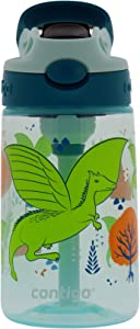 Contigo Kids Water Bottle, 14 oz with Autospout Technology – Spill Proof, Easy-Clean Lid Design – Ages 3 Plus, Top Rack Dishwasher Safe – Honeydew Dragon