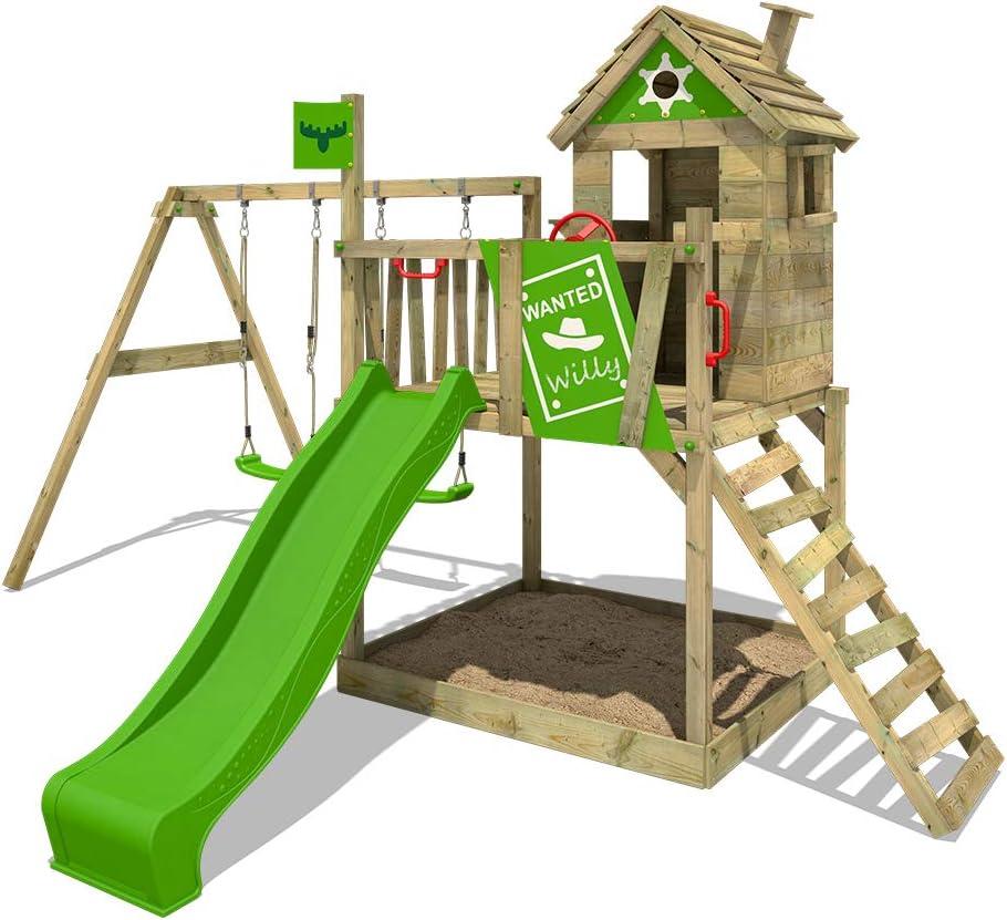 FATMOOSE Parque infantil de madera RockyRanch Roll XXL con columpio y tobogán, Casa de juegos de jardín con arenero y escalera para niños: Amazon.es: Bricolaje y herramientas
