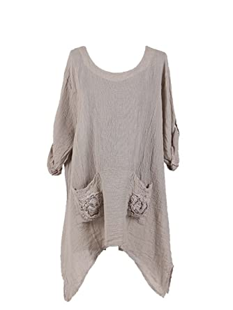 430268dd4b0 New Ladies Italian Quirky Lagenlook Top with Pockets Women Pocket Tunic Top  Plus Sizes (Beige): Amazon.co.uk: Clothing