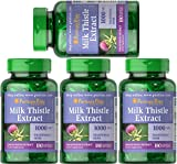 Puritan's Pride Milk Thistle 4:1 Extract 1000 mg (Silymarin)-180 Softgels (4)