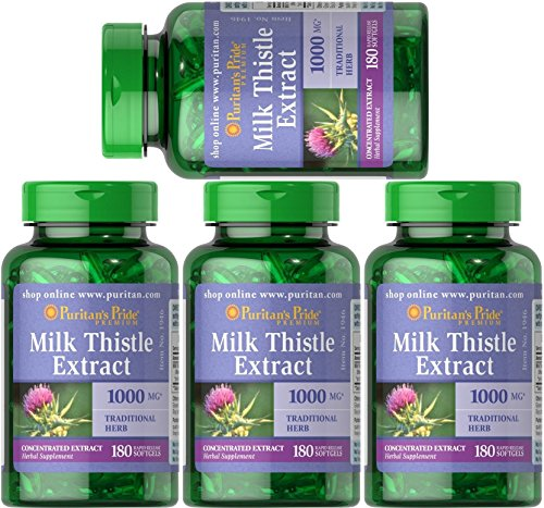Puritan's Pride 4-pack of Milk Thistle 4:1 Extract 1000 mg (Silymarin) -180 Softgels (720 (4 Pack Milk)