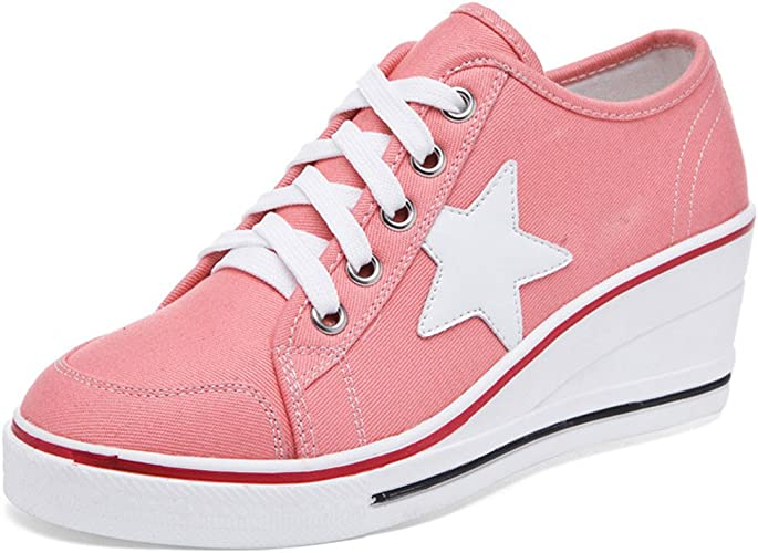 Women's Girl Canvas Wedge Trainers