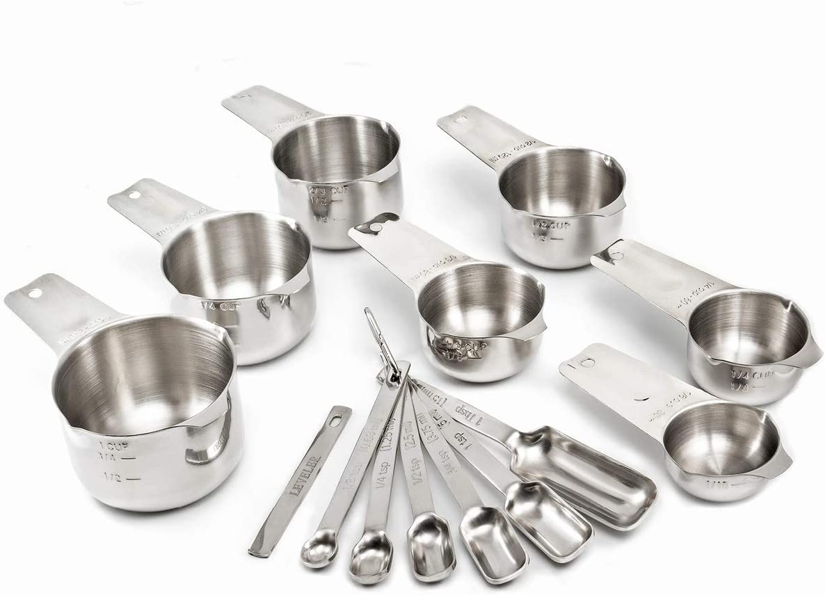 2lbDepot Stainless Steel Measuring Cups and Measuring Spoons Set of 14, includes Leveler