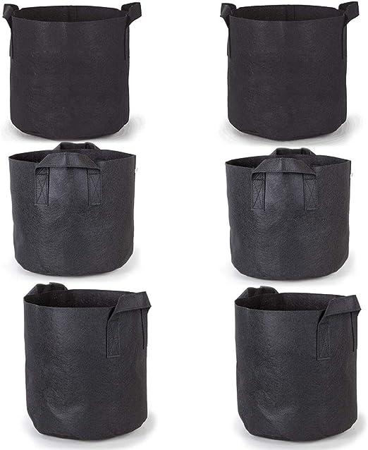 Bolsas de cultivo Paquetes de 6 / Paquetes, 5galones de plantas de jardín / Jarrones de lana con asas de cinturón Bolsas de cultivo negras Bolsas de Cultivo(5 galones): Amazon.es: Jardín