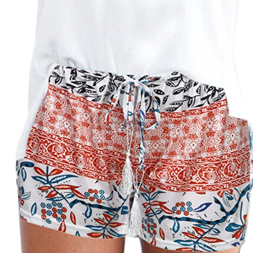 Convinced Women Shorts, 2018 Hot Sale! Women Shorts Elastic Waist,New Women Summer Sport Casual Shorts Pants (L, Orange)