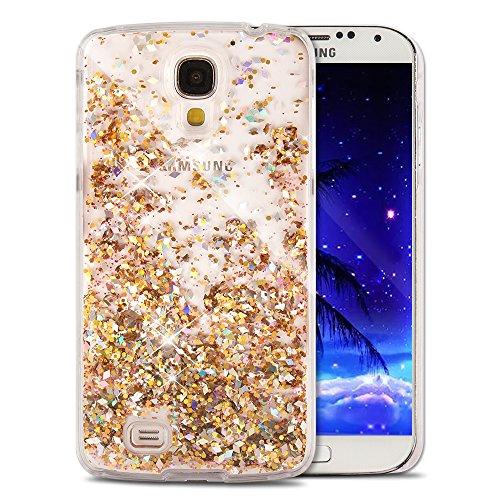 Samsung Galaxy S4 Case EMAXELER 3D Festival Gift Brilliant Luxury Bling Glitter Liquid Floating Moving Hard Protective Case for Samsung Galaxy S4 Send 1Pcs Stylus Pen Diamonds Golden