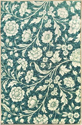 Sweet Home Blue Floral Design Runner Rug 2 3 X6 0 2 Feet 3 Inch by 6 Feet with Non-Skid Non-Slip Rubber Backing
