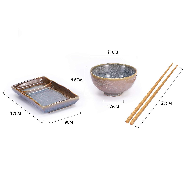 Urban Lifestyle Sushi Set Misaki Gris Azul para Dos Personas 2/Pares Palillos de bamb/ú 2/Platos 2/de Sushi de Cuencos de cer/ámica