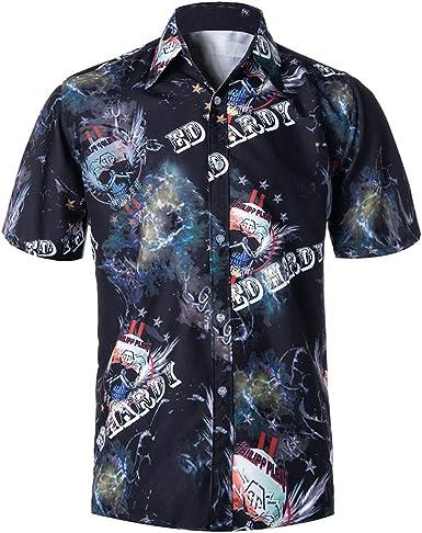 Camisa Hawaiana para Hombre, Manga Corta, de con 3 Estilos para Verano Funky Camisa Hawaiana Señores Playa (Negro, l4): Amazon.es: Ropa y accesorios