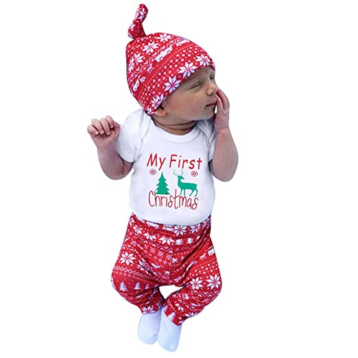 Huangou My First Christmas Outfit Newborn Baby Boy Girl Long Sleeve Romper  Tops+ Pants + Hat - Amazon.com: Huangou My First Christmas Outfit Newborn Baby Boy Girl