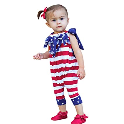 5fafba27d5a8 Amazon.com: Womola Lovely Baby Girls Star Print 4th Of July Romper Overall  Striped Straps Clothes Summer Outfits (70, Red): Musical Instruments