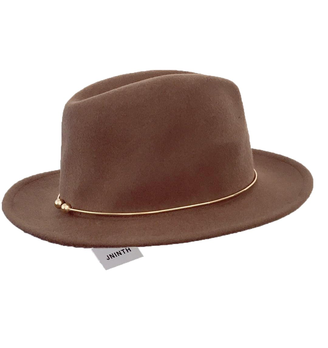 JNINTH Trendy 100% Wool Felt Fedora Hats Wide Brim Comfortable Adjustable Cap with The Unique Metal Circle for Women (Camel)