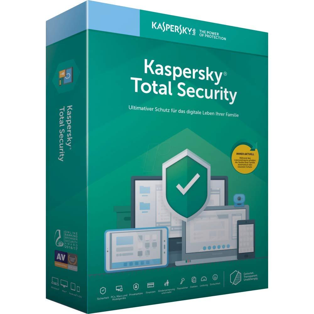 1 A/ño Kaspersky 2020 Total Security 3 Licencias Antivirus