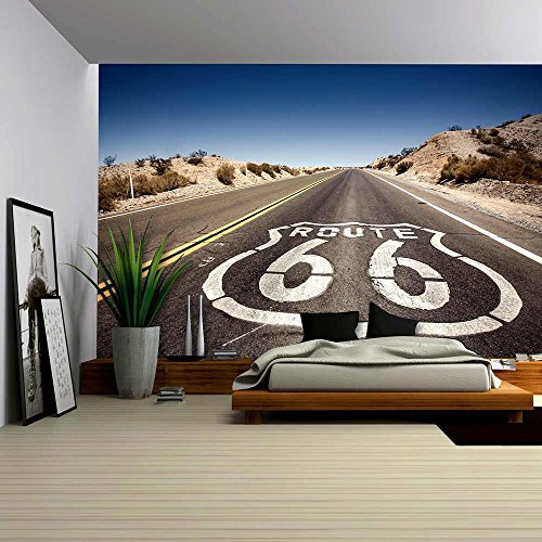wall26 - Famous Route 66 Landmark on the Road in Californian Desert - Removable Wall Mural | Self-adhesive Large Wallpaper - 100x144 inches (Road Mural)