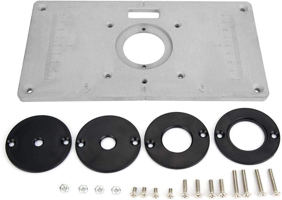 Con mesa de aleación de aluminio resistente, mesa para el procesamiento de madera, placa de mesa de 235 x 120 x 8 mm, para accesorios para sierras de banco para taladro e instalación de